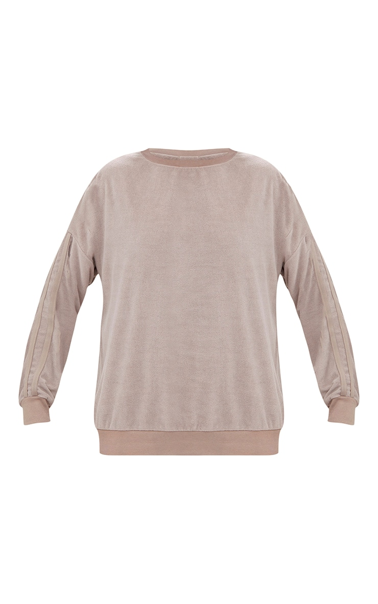 Taupe Velour Side Stripe Sweater 3