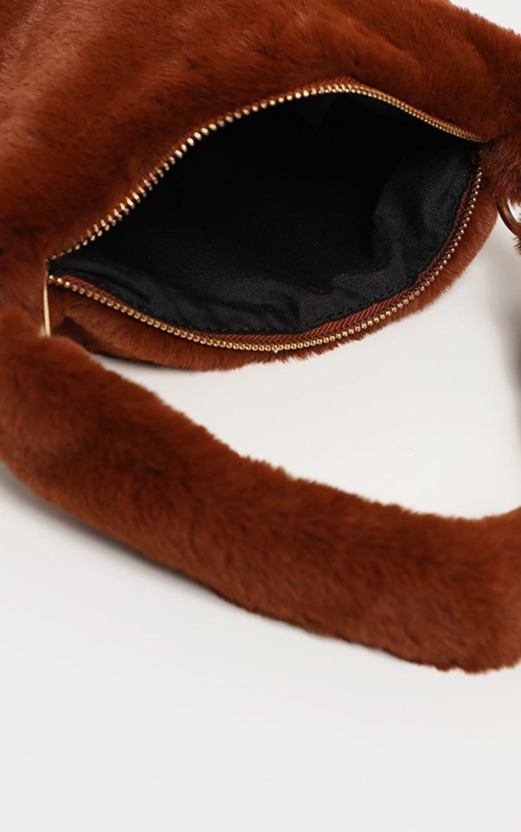 Brown Faux Fur Shoulder Bag 3