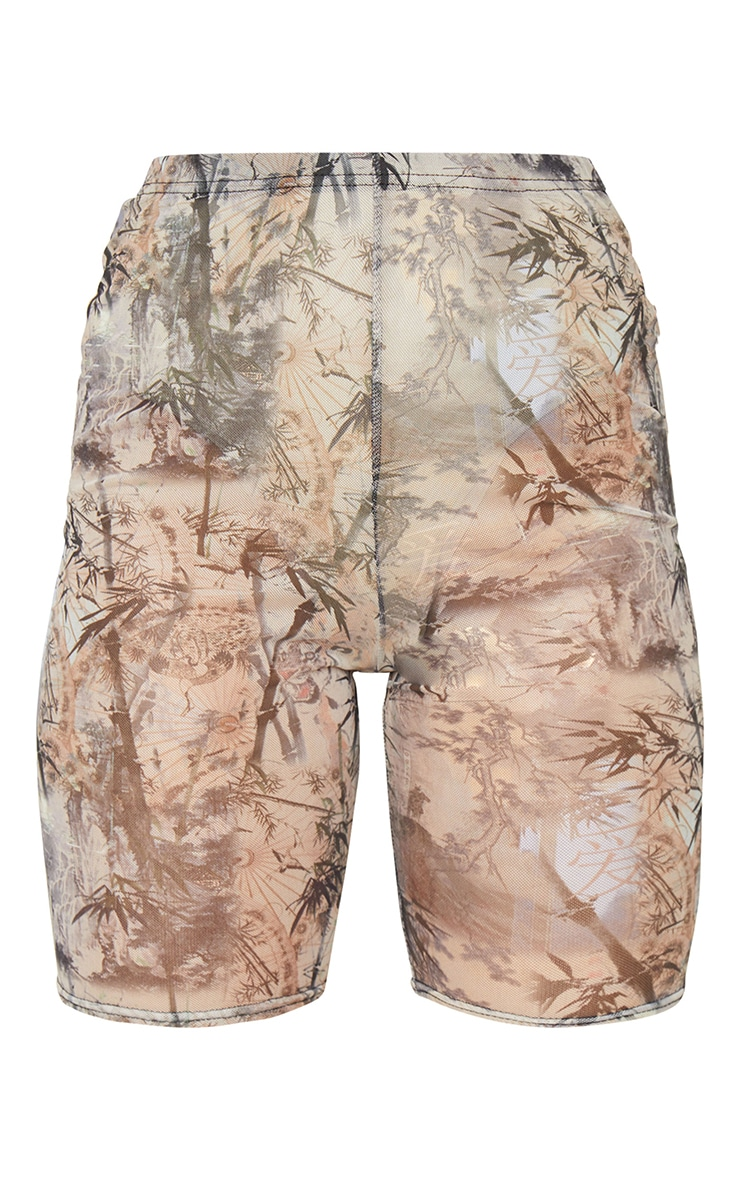 Nude Washed Oriental Print Mesh Cycle Shorts 6