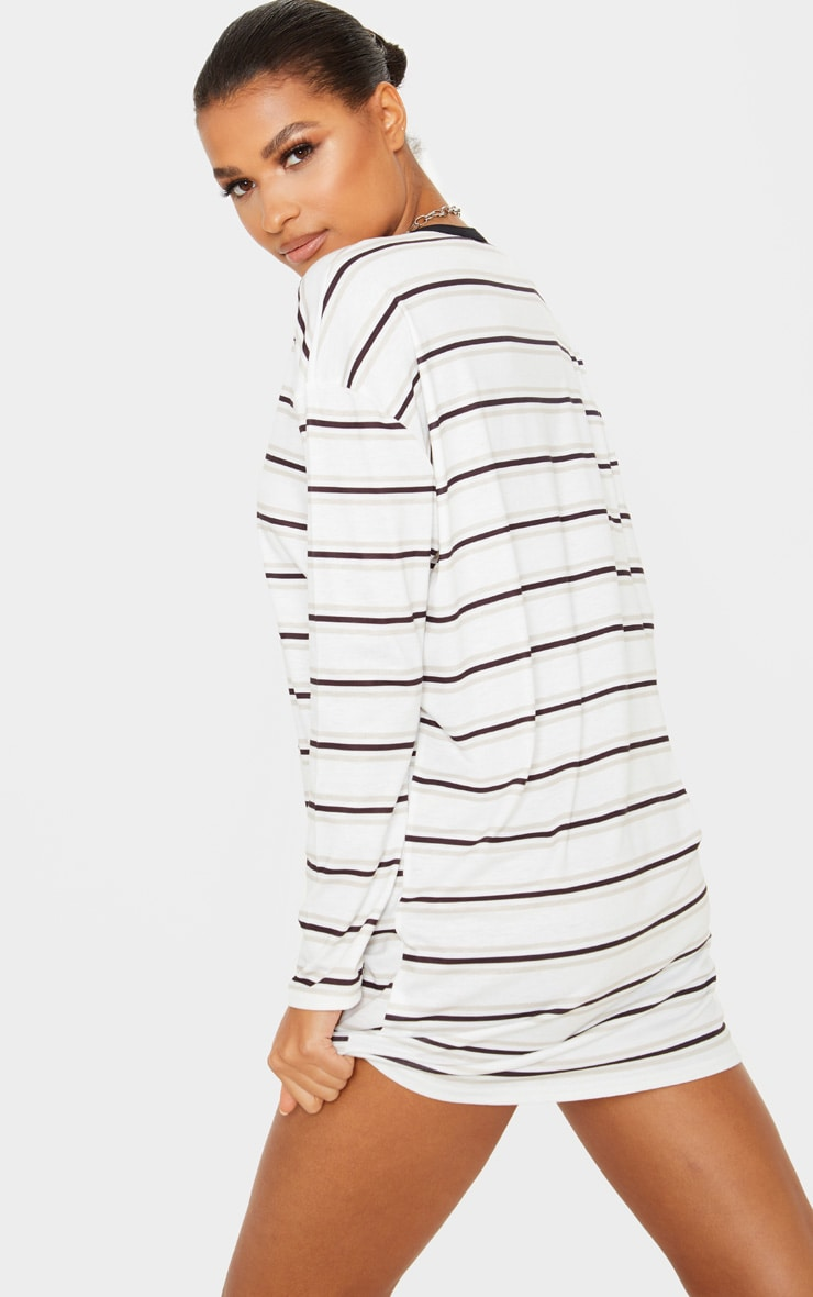 White Contrast Stripe Long Sleeve T Shirt Dress 2