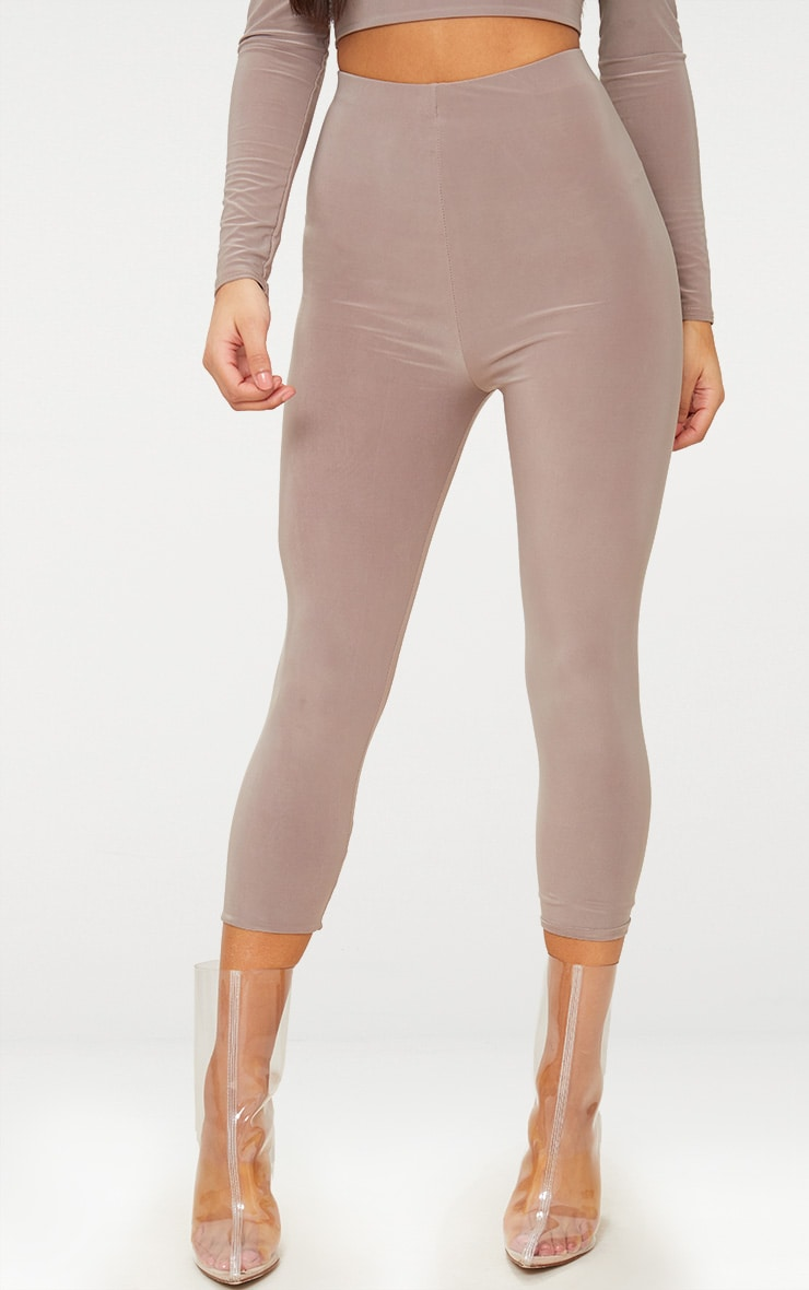 Taupe Slinky Cropped Leggings 2