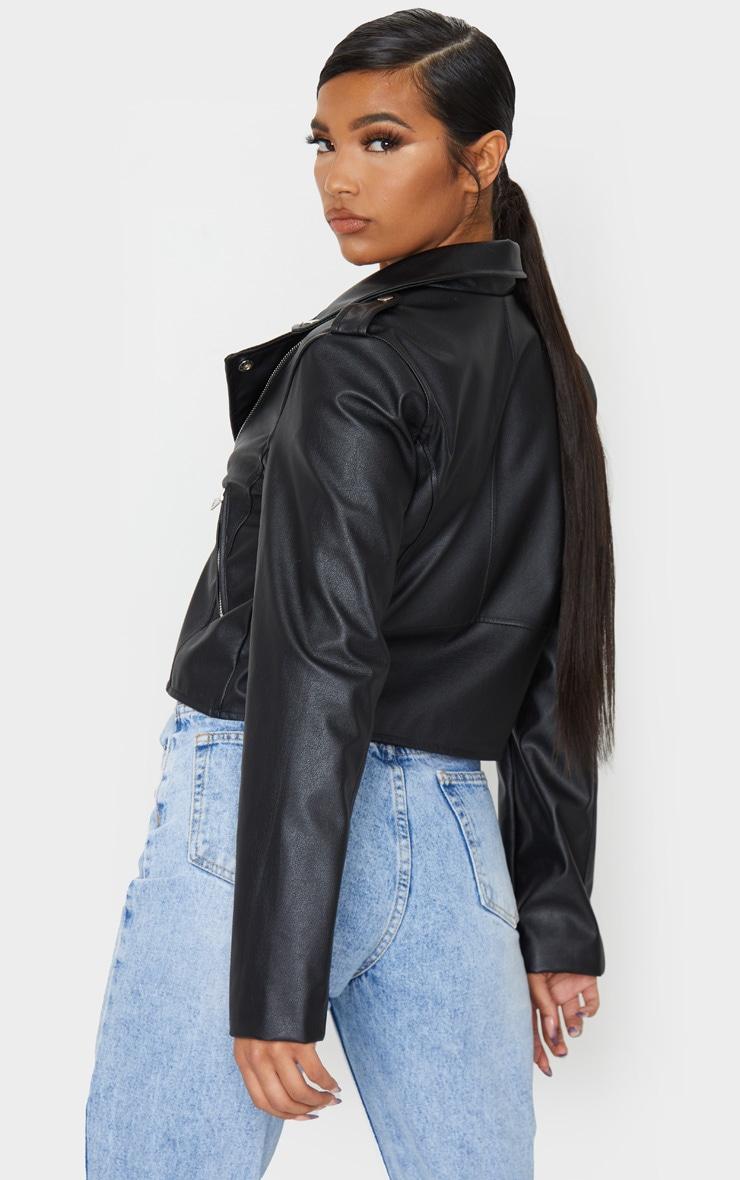 Black PU Biker Jacket With Zips 2