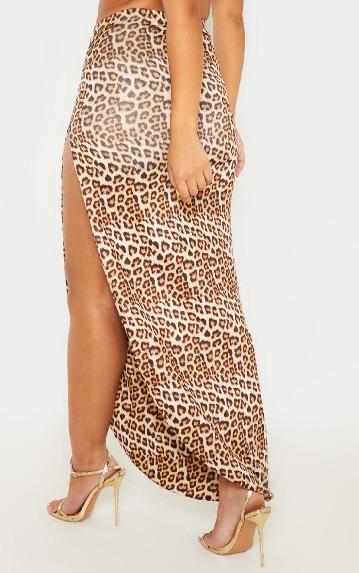 Tan Leopard Print Ruched Side Split Maxi Skirt 4