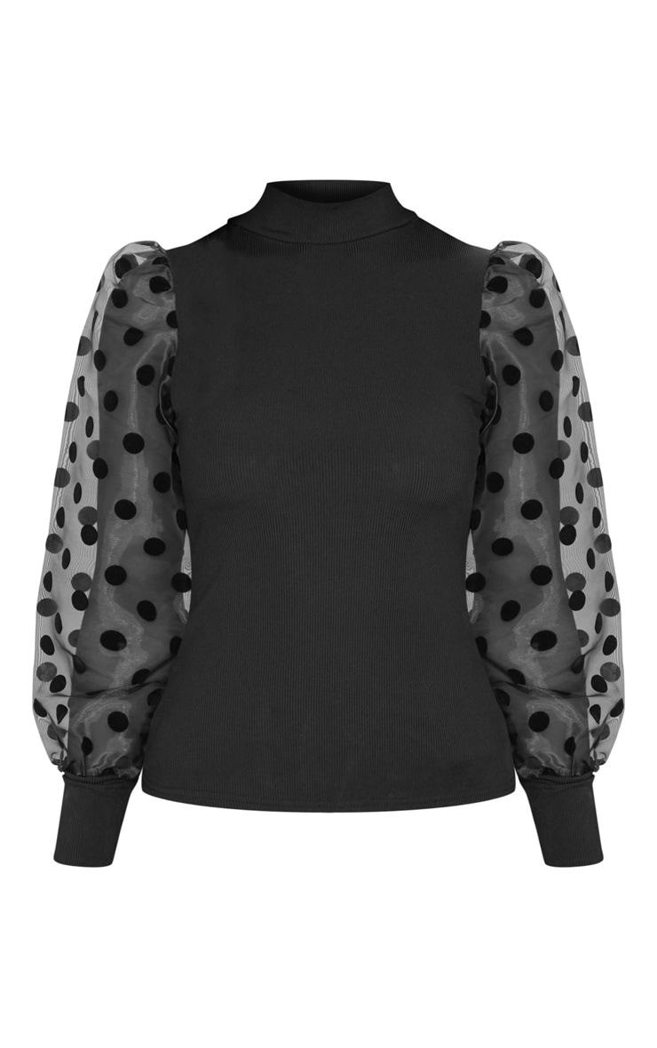 Black Rib High Neck Sheer Polka Dot Puff Sleeve Long Top 5