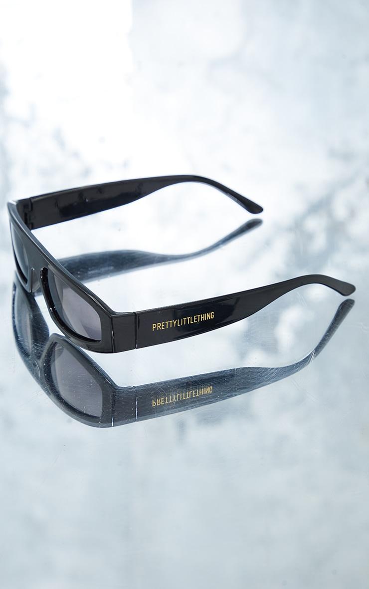 PRETTYLITTLETHING Black Slime Lime Square Frame Sunglasses 2