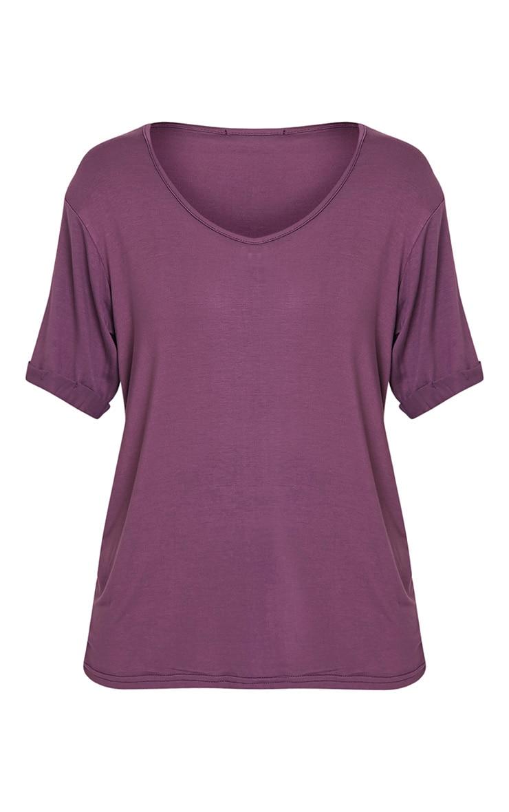 Basic Aubergine V Neck Oversized T-Shirt 3