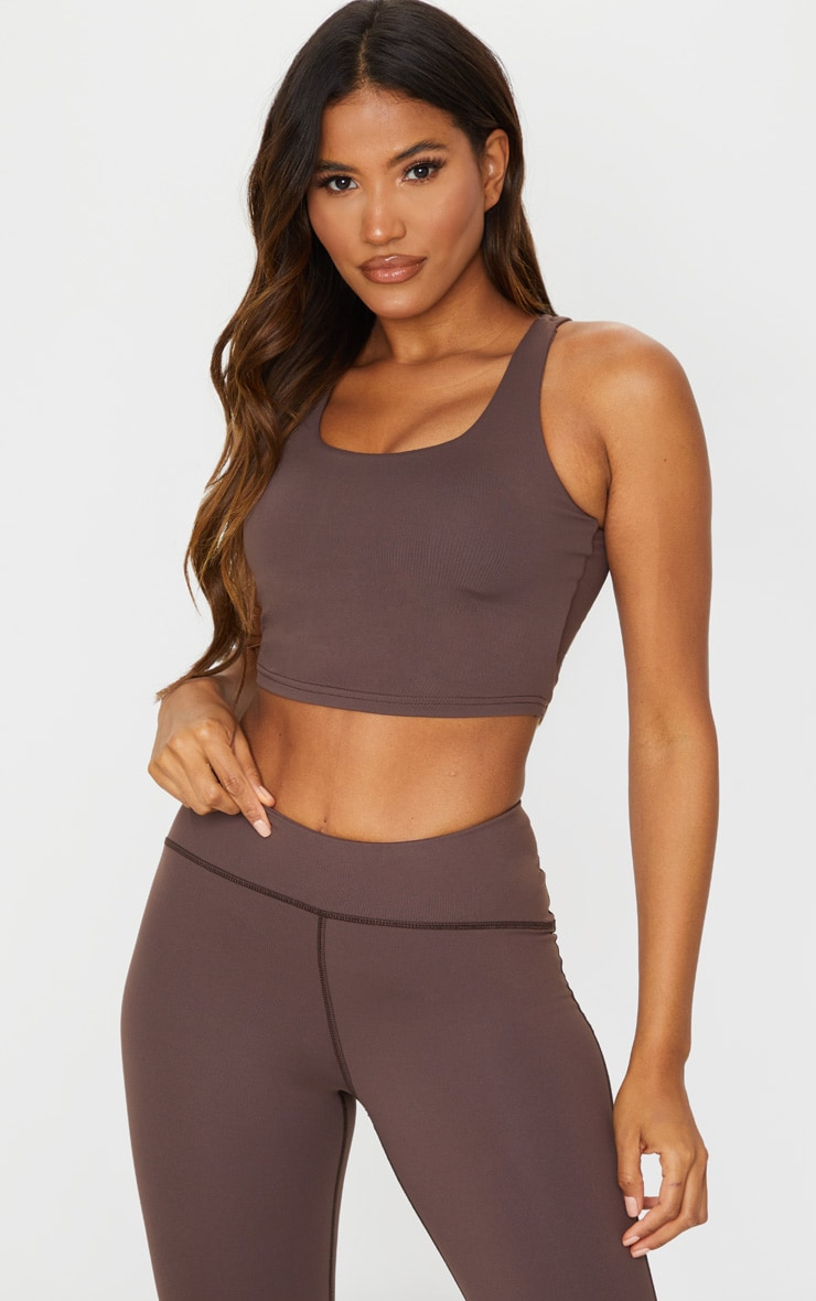 Chocolate Brushed Open Back Crop Top 1