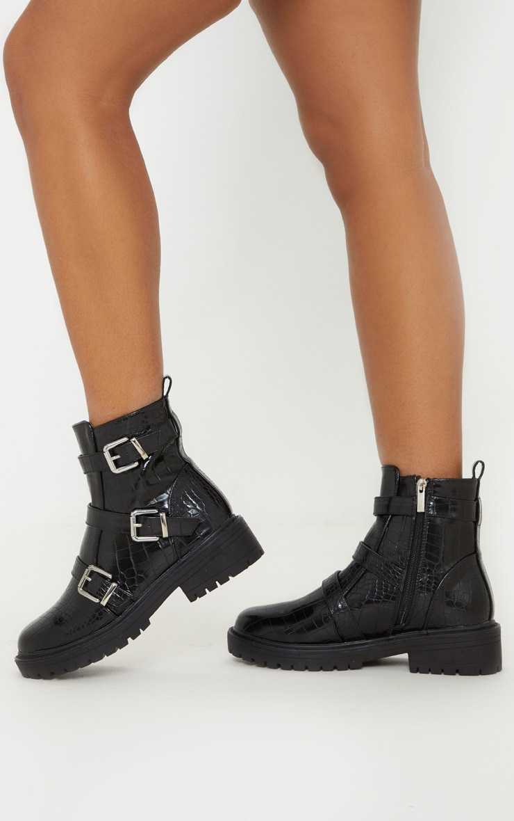 Black Triple Strap Buckle Biker Boot 2
