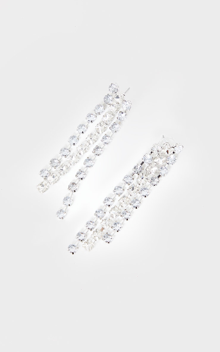 Silver Diamantes Chain Drop Earrings 3