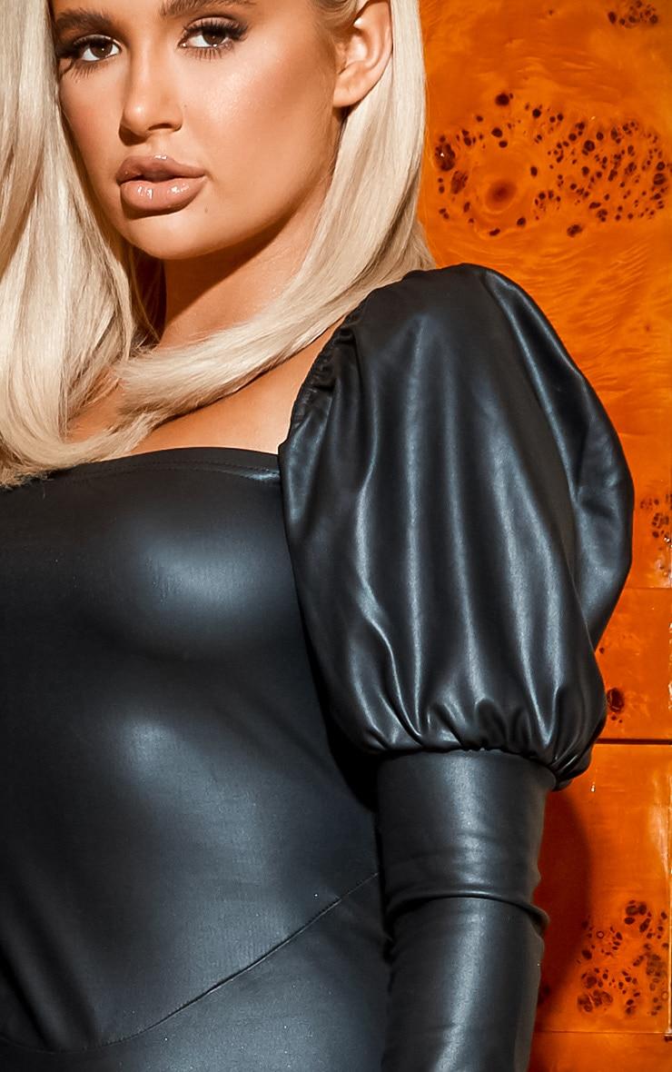 Black PU Puff Sleeve Bodycon Dress 6