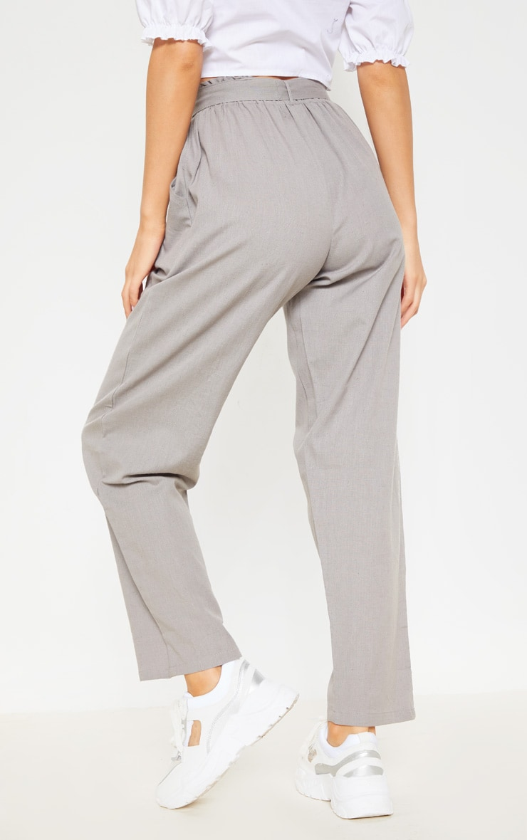 Pale Grey Paperbag Linen Feel Tie Waist Detail Pant 4