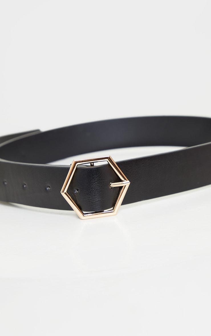 Black Basic Hexagon Buckle Belt 2