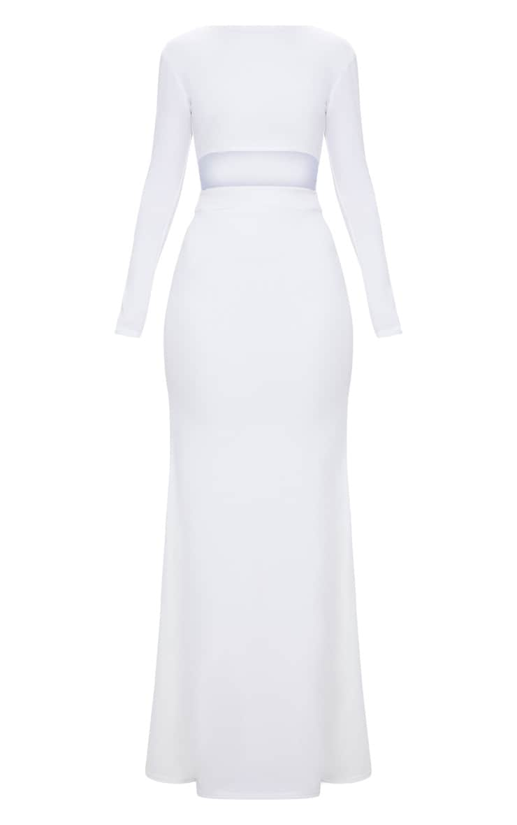 White Cut Out Detail Long Sleeve Maxi Dress 3