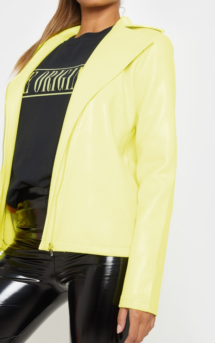 Neon Yellow Snake PU Biker Jacket  5