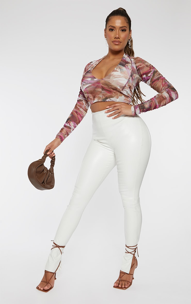 Shape Pink Marble Print Mesh Cut Out Ruched Sleeve Crop Top 3