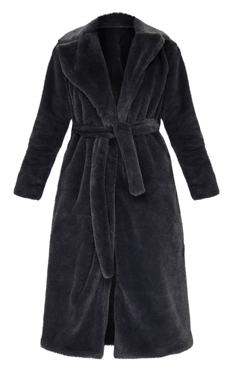 Tall Grey Belted Faux Fur Coat 5
