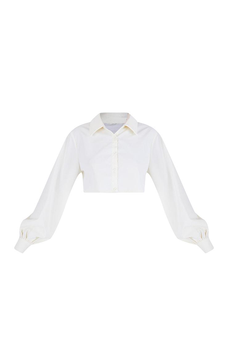 Cream Woven Oversized Cropped Shirt 5