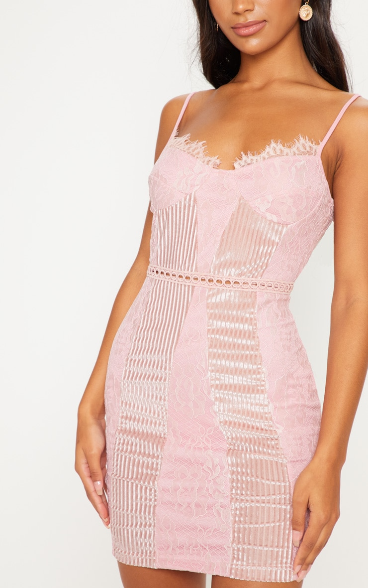 Pink Strappy Lace Velvet Insert Bodycon Dress 5