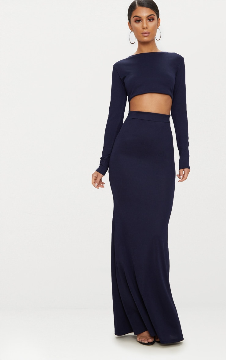 Navy Cut Out Detail Long Sleeve Maxi Dress 1