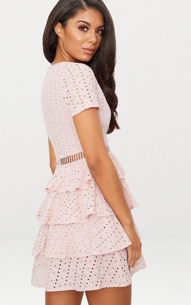Dusty Pink Lace Tier Frill Plunge Skater Dress  2