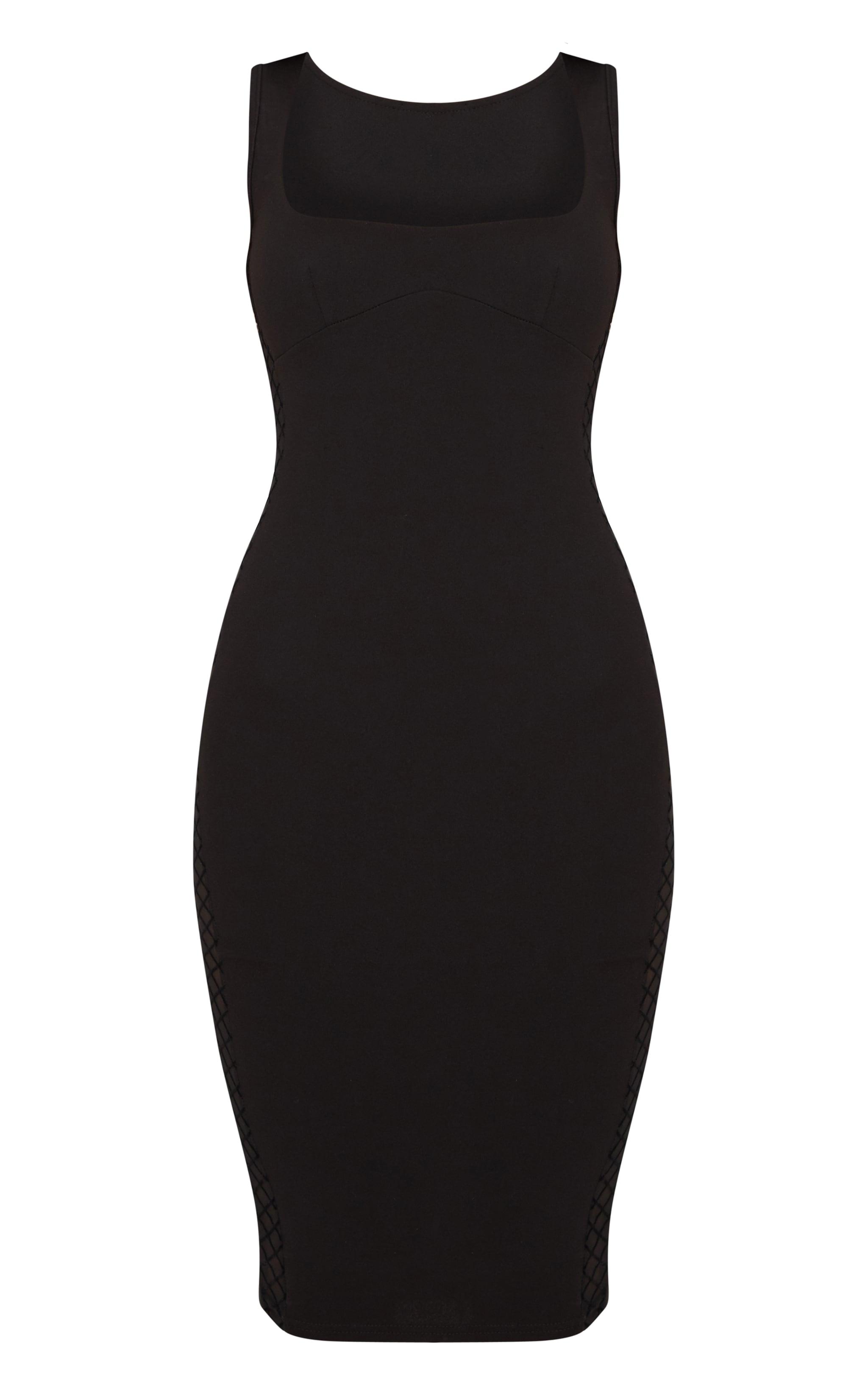 Black Mesh Side Square Neck Midi Dress 3