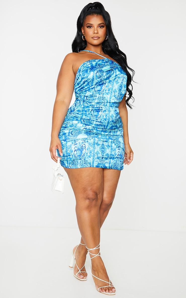 Plus Blue Tile Print Satin Asymmetric Bodycon Dress 1