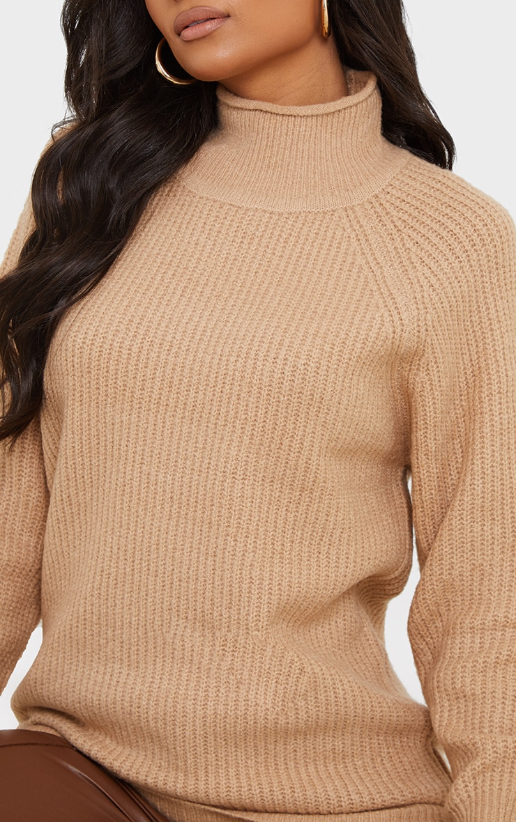 Camel Balloon Sleeve Longline Knitted Sweater 4