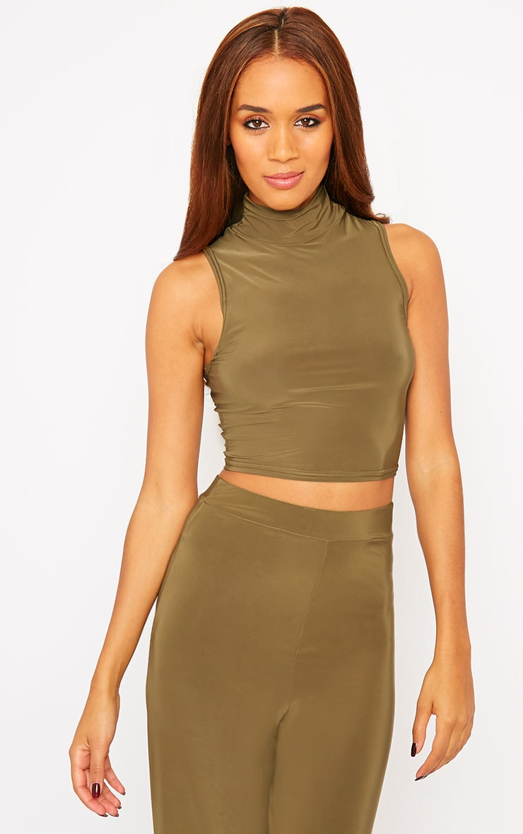 Remi Khaki Soft Touch Crop Top 1
