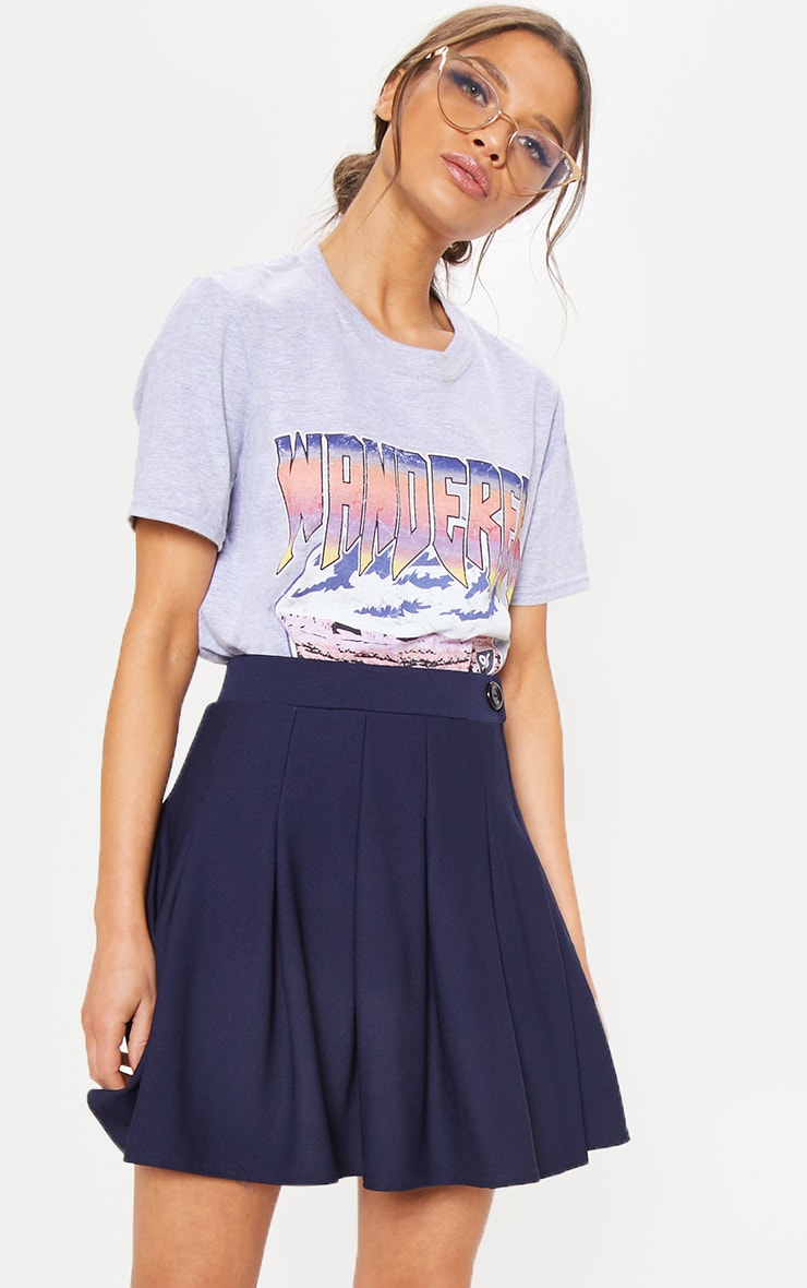 Navy Pleated Tennis Skirt 1