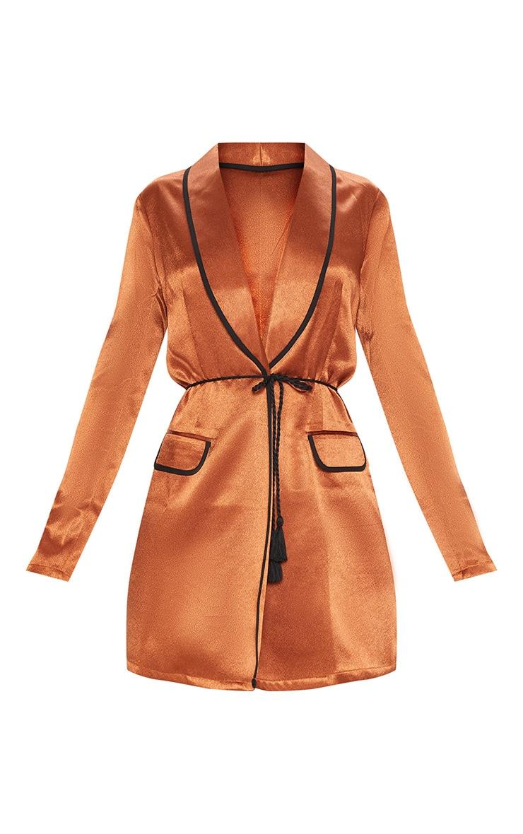 Rust Contrast Rope Detail Blazer Dress 3