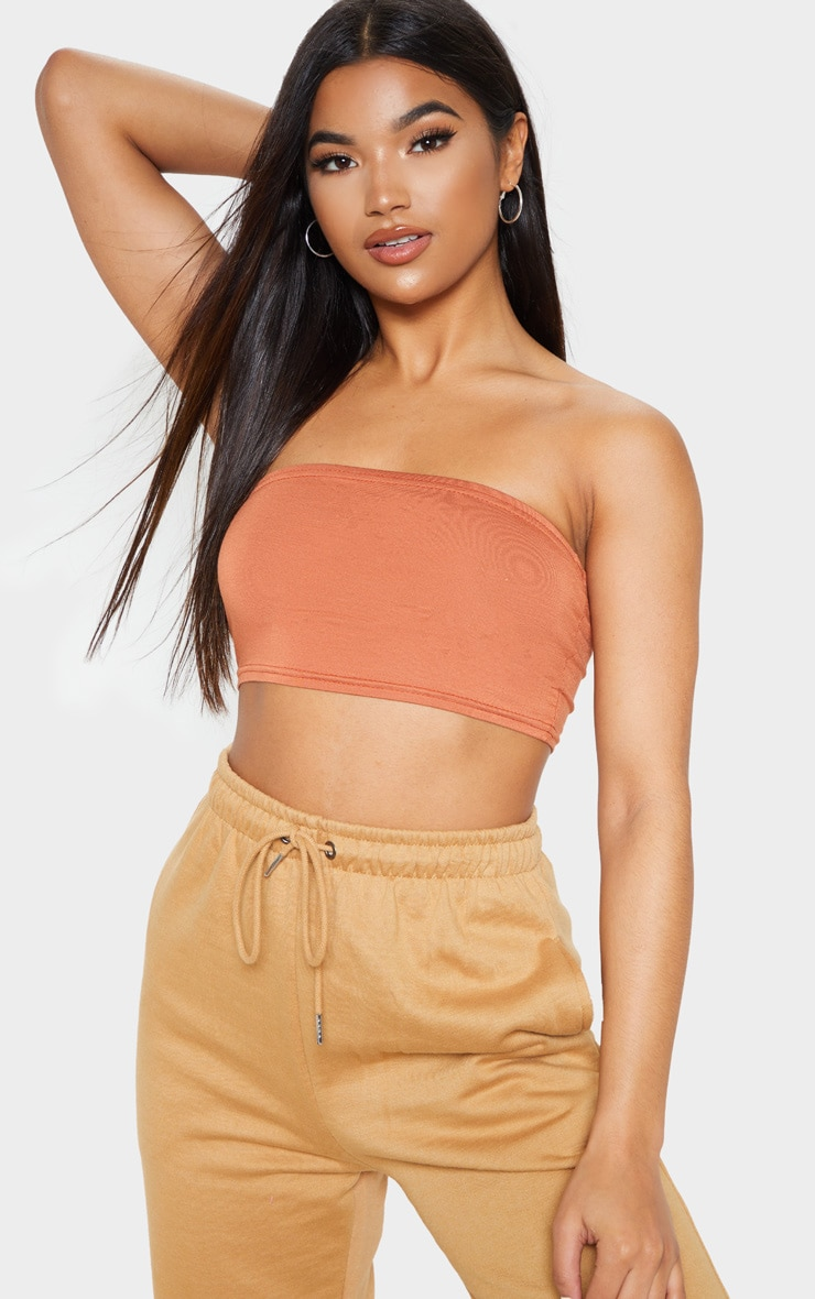 Basic Tan Jersey Bandeau Crop Top 4
