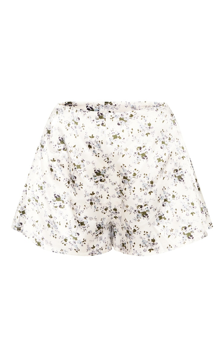 White Ditsy Floral Print Floaty Shorts 3
