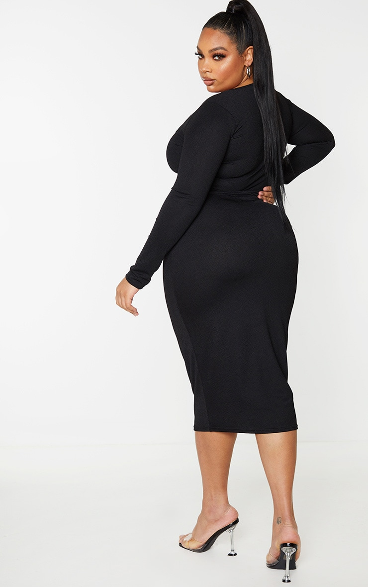Plus Black Square Neck Long Sleeve Midaxi Dress 2