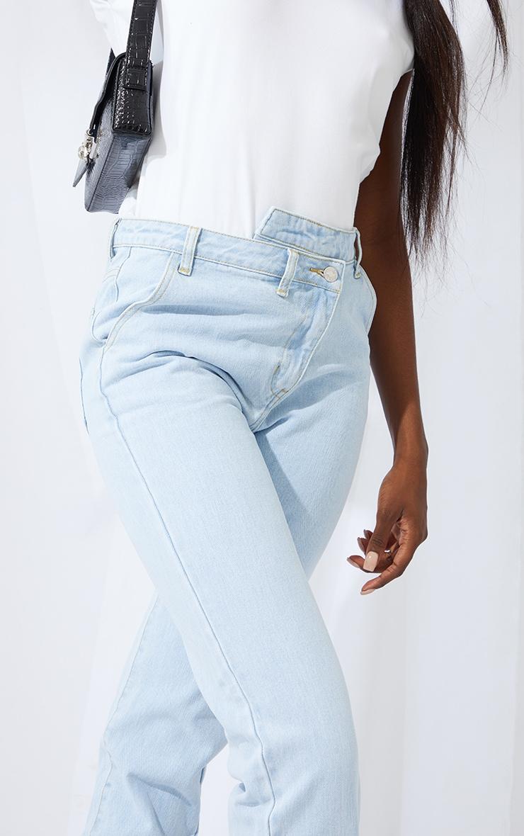 Tall Bleach Wash Asymmetric Waist Jeans 4