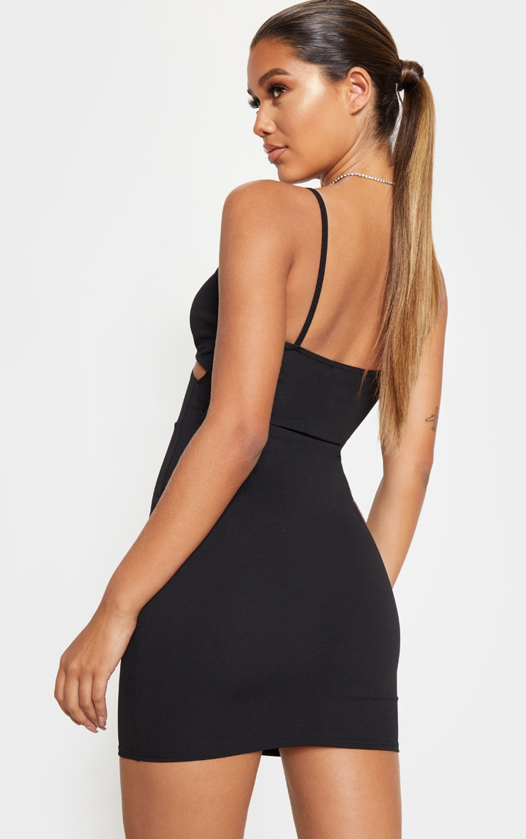 Black Strappy Cross Front Bodycon Dress 2