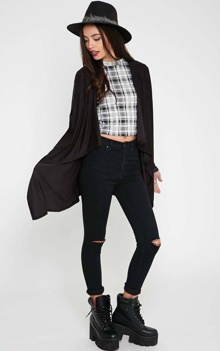 Macie Black Waterfall Cardigan with PU Sleeve 3