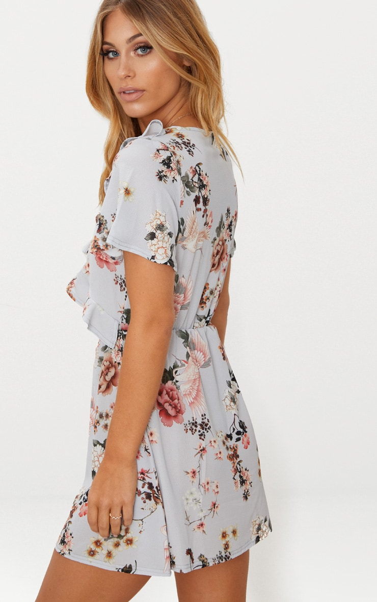 Grey Floral Print Frill Detail Tea Dress 2