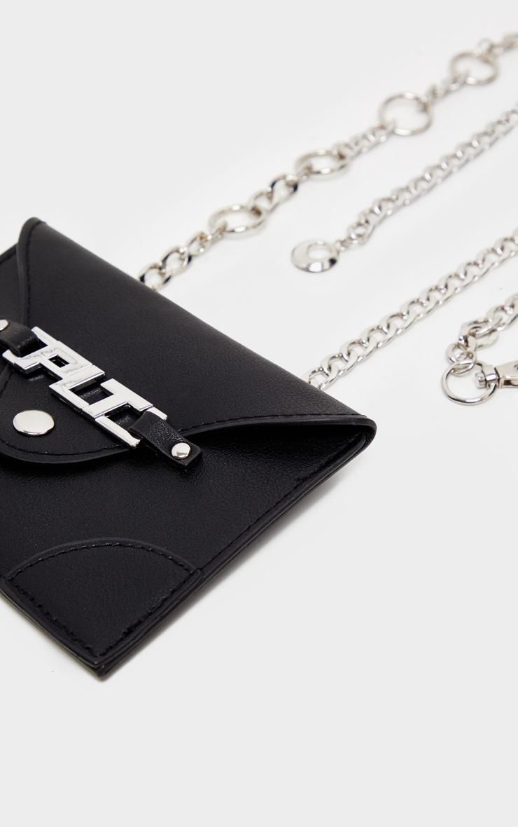 PRETTYLITTLETHING Black PU Envelope Chain Bum Bag 4