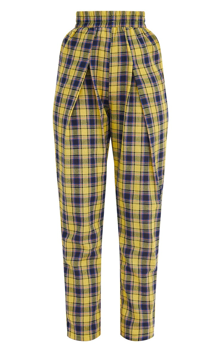 Yellow Check Front Pleat Casual Trousers 3