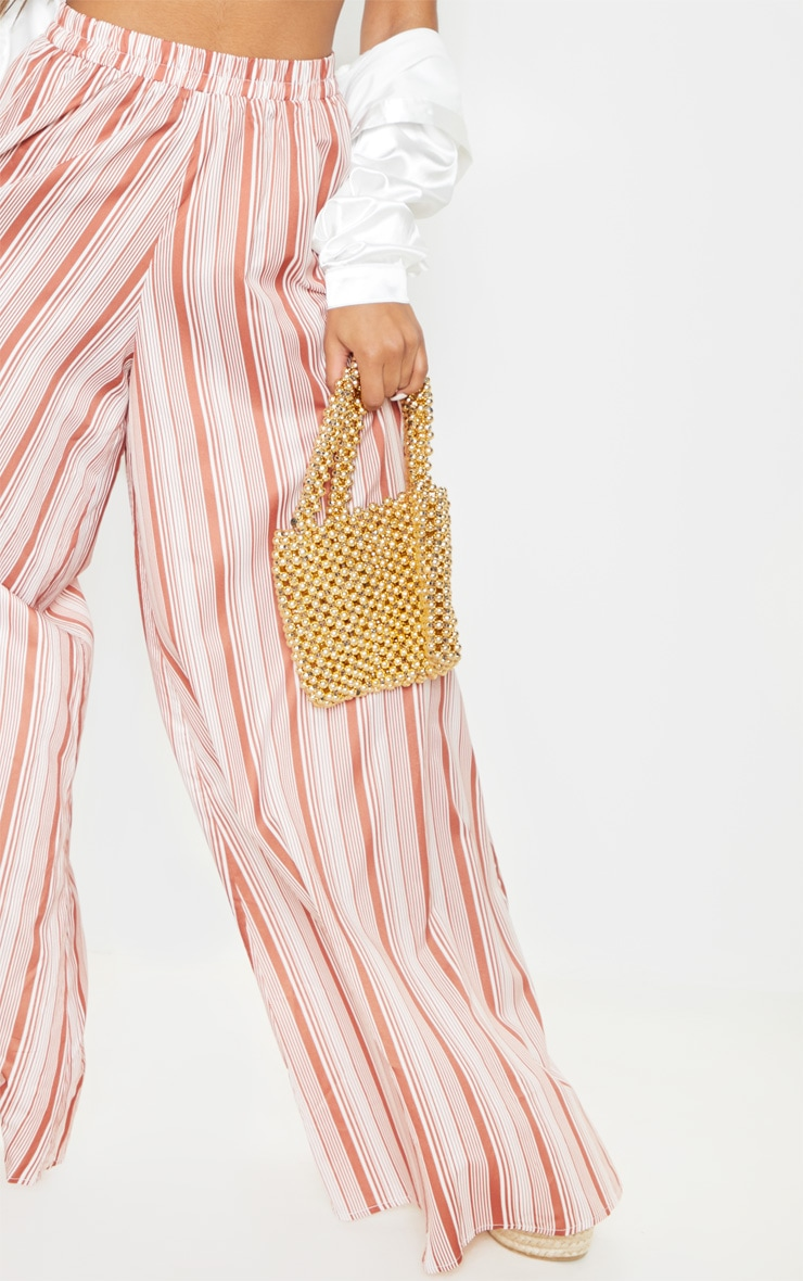 Rust Stripe Extreme Wide Leg Floaty Trouser 4