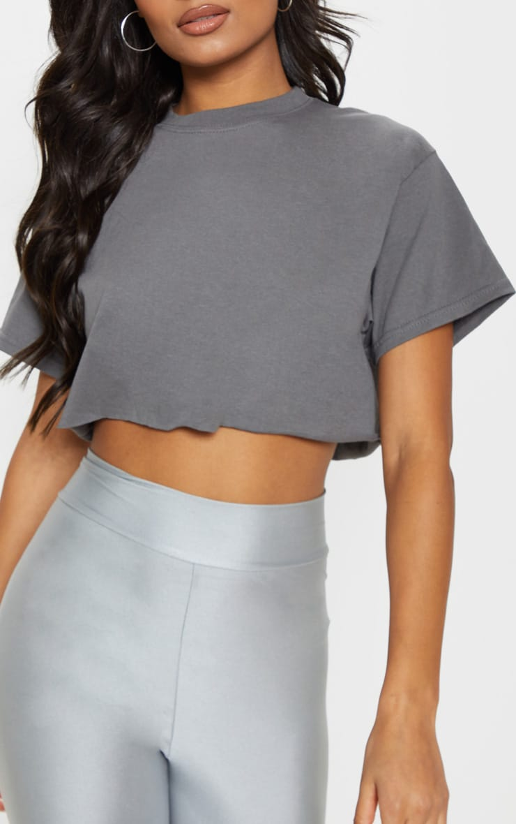 Charcoal Ultimate Oversized Crop T Shirt 5