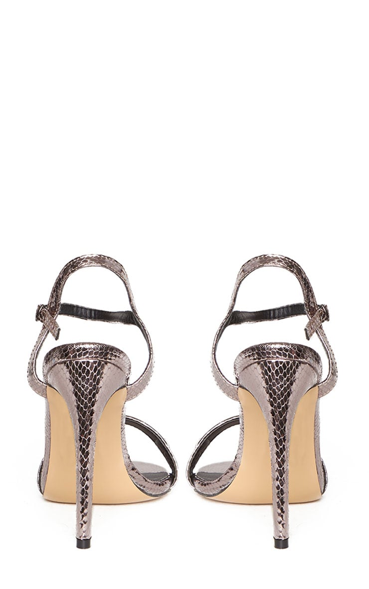 Jamie-Lee Pewter Bar Detail One Strap Sandals 8