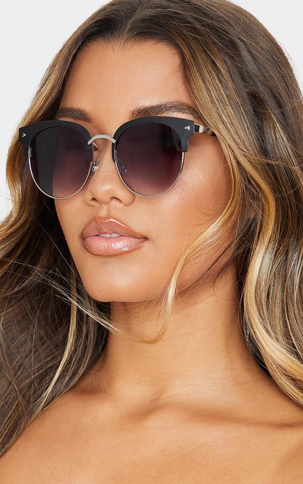 Black Frame Rounded Aviator Sunglasses 1