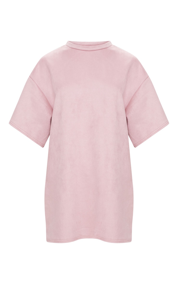 Pink Faux Suede Oversized T Shirt Dress 3