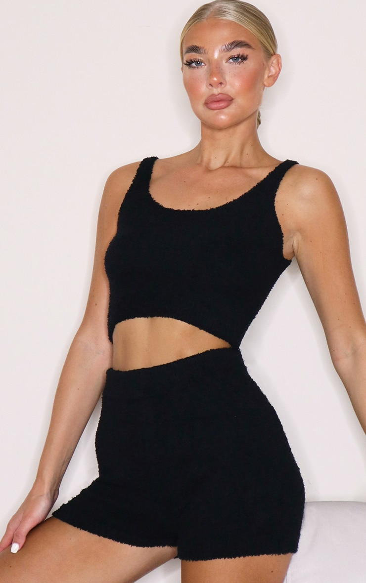 Black Chenille Scoop Neck Strappy Crop Top 1