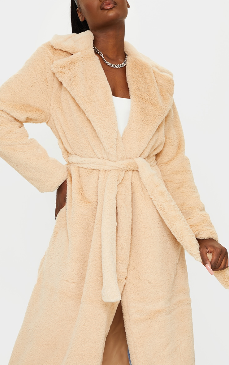 Tall Taupe Belted Faux Fur Coat 4