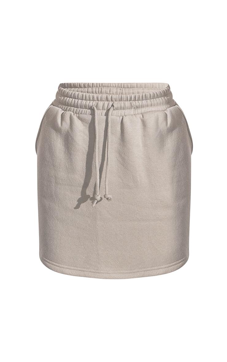RENEW Khaki Sweat Drawstring Waist Mini Skirt 5