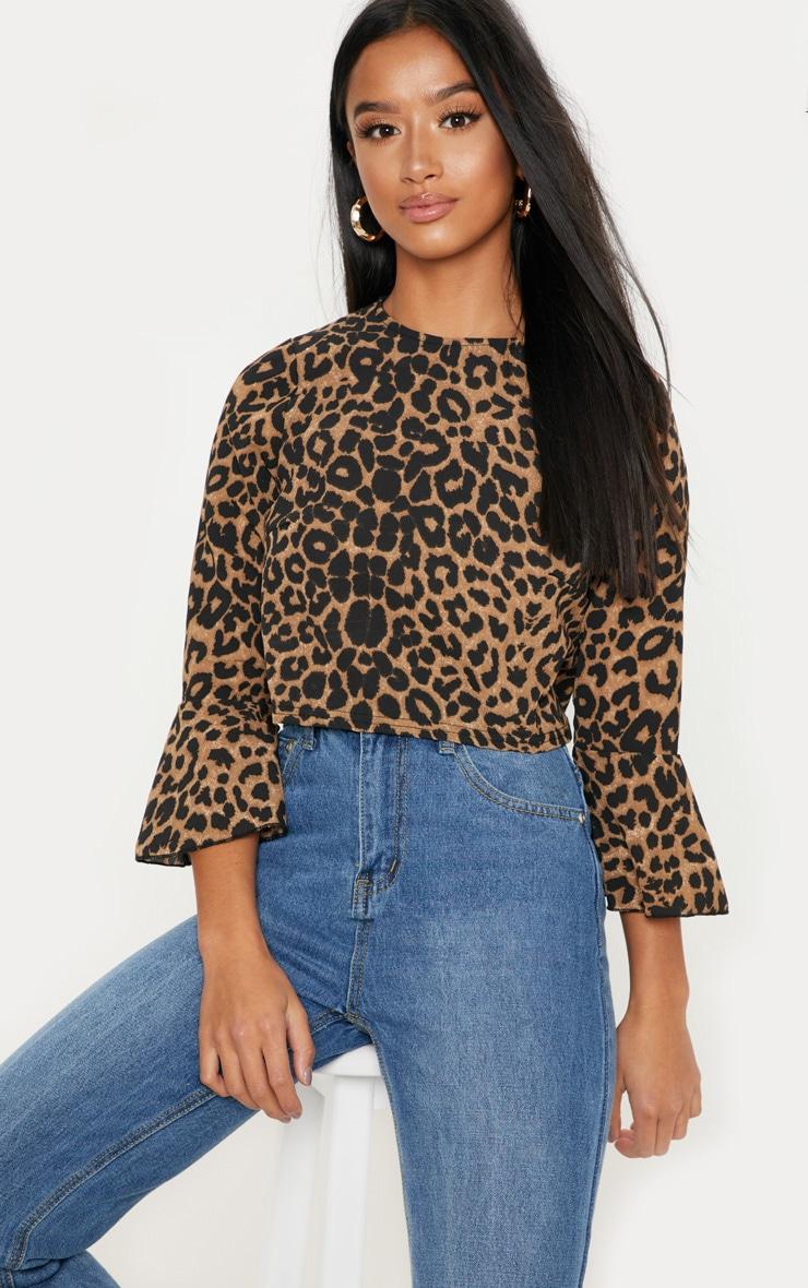 Petite Tan Leopard Print Cropped Blouse 1