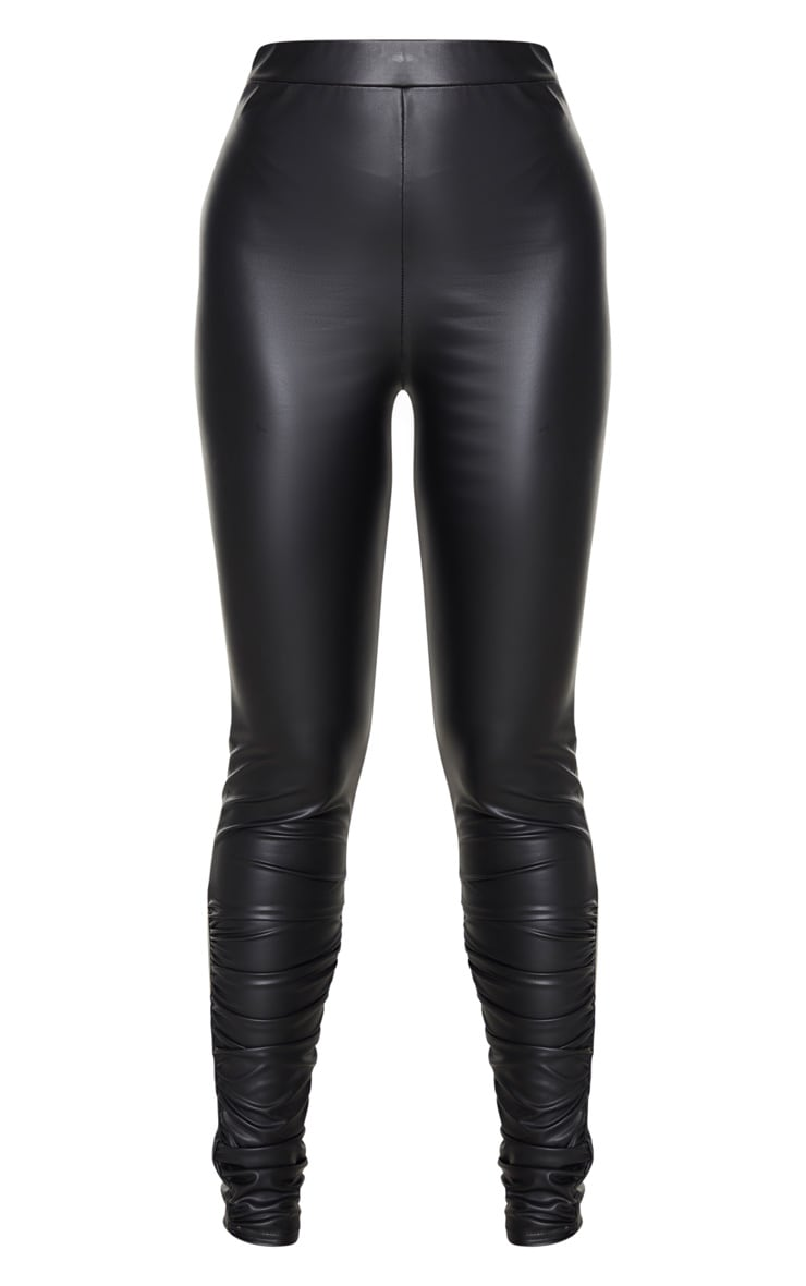 Tall Black Coated PU Ruched Ankle Leggings 5