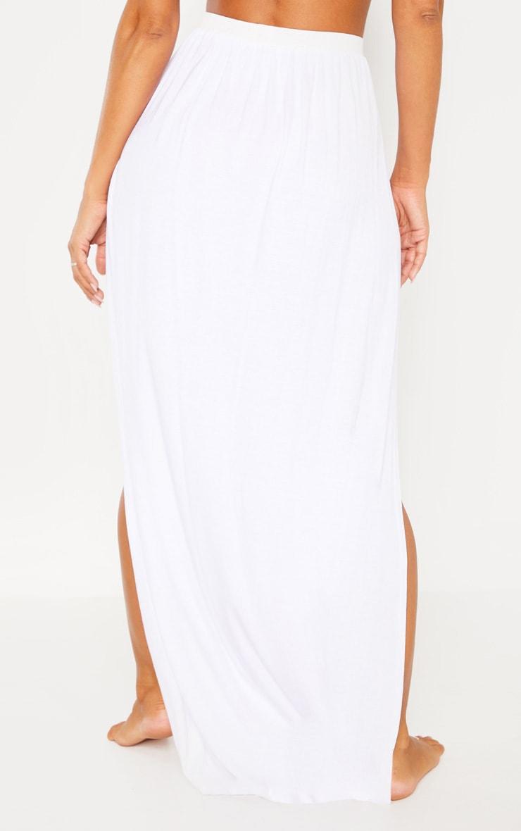 White Jersey Double Split Beach Skirt 4